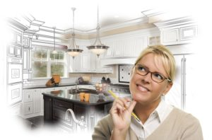 A woman imagines her new kitchen
